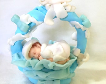 Creation/fact table hand/Figurine/thumbnail/baby/fimo/cake topper/baby shower/baptism/birth/customizable/idea gift/decoration