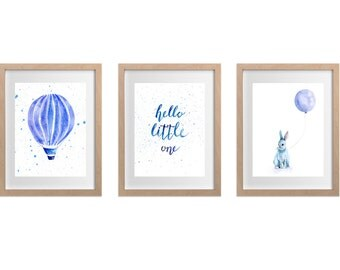 Pale Blue Watercolour Nursery set (3), Hot Air Balloon, Bunny with Balloon, Hello Little One text, Nursery art, baby boy,