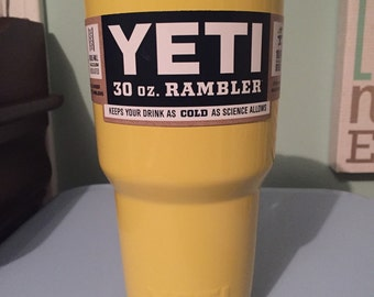 30oz powder coated Yellow YETI rambler