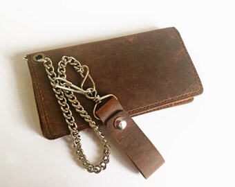 Leather Biker Wallet / Leather Chain Wallet / Leather Trucker Wallet  /Heavy Duty Wallet / Buffalo Leather