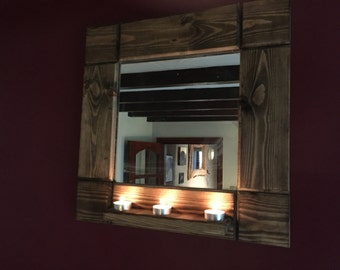 Rustic Mirror - with tea light plinth