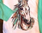 Horse baseball tee