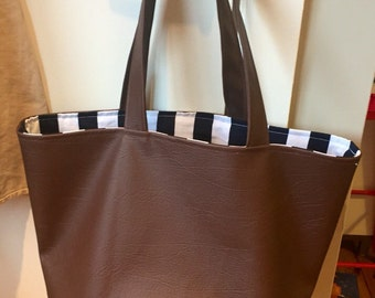 Faux Leather Mens Tote