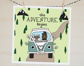 Just Married Card | Funny Wedding Card | Marriage Card | Wedding Card | Congratulations Card | Newlyweds | Woodland Animal | VW Bus