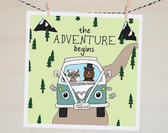 Just Married Card | Funny Wedding Card | Marriage Card | Wedding Card | Congratulations Card | Newlyweds | Woodland Animal | VW Bus