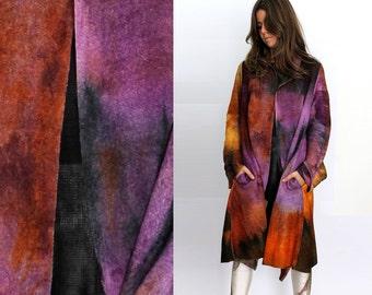 Colorful wool coat, light oversized coat, felt wool robe, boiled wool