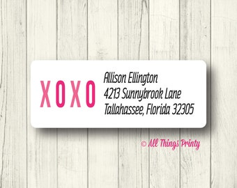Custom Love Address Labels - Personalized XOXO Return Mailing Labels - Matte White, Kraft, or Clear Gloss