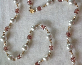 Gorgeous Vintage 1960's Faux Large Pearl Long Necklace with flower clasp