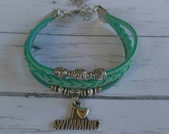 Personalized Sports Bracelet// Swimming Bracelet// Team Colors// Swim Mom// Swim Coach// Swimming Gift// Choose  Colors & Sports Charm