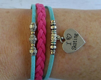 Skating Charm Bracelet// Pink & Teal Friendship Bracelet// Girl's Sports Bracelet// Skating Gift// Choose ONE Sports Charm and Cord Colors