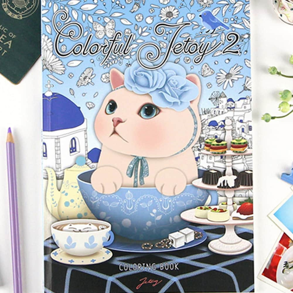 Colorful Jetoy 2 Coloring Book For Adult Cat Illustration