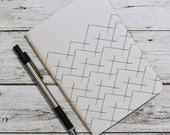 Small Geometric Notebook Sketchbook White Pocket A6 Bookbinding Gift