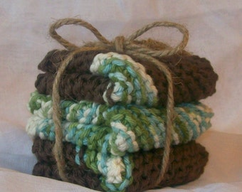 Kitchen Dishcloths Knit in SeaGlass