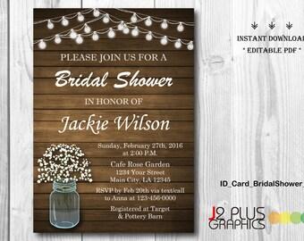 INSTANT DOWNLOAD Bridal Shower Invitation Printable, Rustic Floral Mason Jar Bridal Shower Invitation Instant Download, Invites Editable PDF