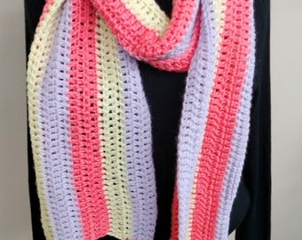 Crochet Scarf - Unique Handmade Scarf in Sherbet Colors