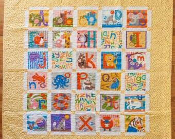"""Alphabet baby quilt - yellow 44"""" x 51"""""""