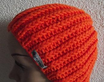 Winter hat in beautiful orange, Art.Nr. OF THE 145