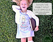 Down the Rabbit Hole Alice in Wonderland Free Motion Embroidery Appliqué Pattern