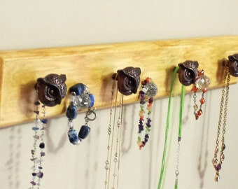 "Jewelry Rack ""Wood""  - Brown/Burnt Umber ""Weathered Look"" w/Owl Decorative Knobs"