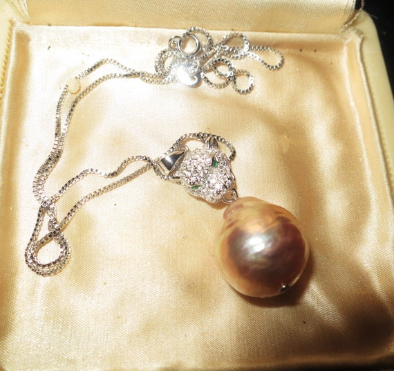 Beautiful 15mm genuine Kasumi pink rainbow reflect pearl pendant necklace panther bale