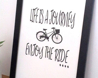 """Framed A4 Typography Art Print """"Life is a journey enjoy the ride"""" on Paper Wall Art Home Decor"""