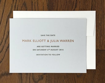 Letterpress save the date card: Grey, Copper ink, Contemporary, Luxury, hand printed, Wedding stationery