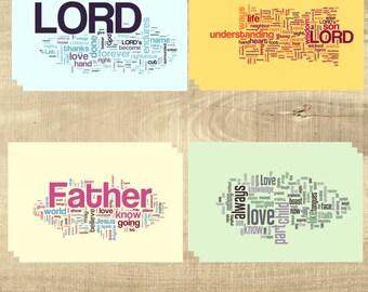 PRINTED Scripture postcards, Bible Verse - Word Cloud Set - Set of 12