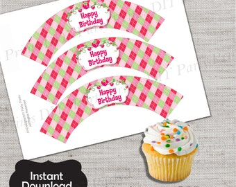 Strawberry Shortcake Cupcake Wrapper,Strawberry Shortcake Wrapper,JPG file,Cupcake Wrappers,Strawberry party,Strawberry ShortcakeDPP85