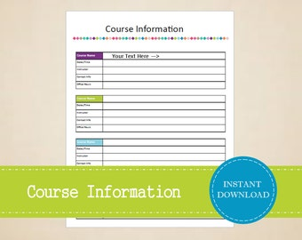 Course Information - Student Planner - College Planner - Printable and Editable - INSTANT PDF DOWNLOAD