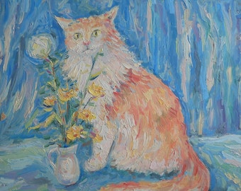 Red Cat and Field Flower in Vase Oil Painting Impasto Palette knife Soft Pastel Canvas Art Home Decor Pet Portrait Animal Picture Impression