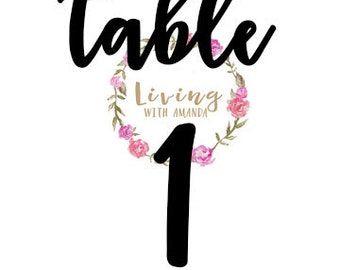PRINTABLE Table Number DIGITAL WEDDING Events Table Numbers Wedding Table Number - Living with Amanda
