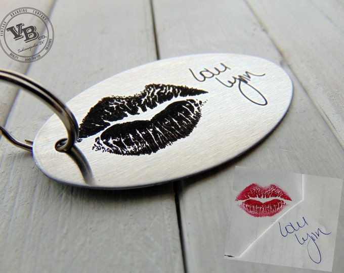 Your Actual Lips Imprint, Handwritten Steel Key Chain- or font, personalized key chain for him, Romantic Valentine's Day Gift, custom gifts