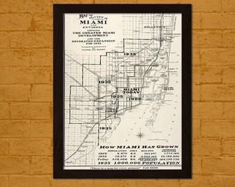Old Map Of Miami City Expansions Ancient Old Map Print Antique Map Historical Antique Posters Old Print  Art Repro