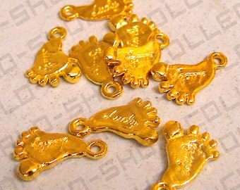 11mm, Lucky Footsteps Pendant, Alloy Gold Color