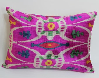 Pink Ikat Velvet Pillow -  15'' x 21.5''  Pink Pillow Accent Sofa Pillows Ikat Lumbar Pillow Cover Velvet Pillow Cover Pink Couch Pillow