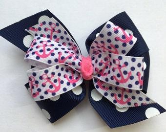 Navy Polka Dot Anchor Bow Navy and Pink Sailor Hair Bow Nautical Hair Bow with Alligator Clip Little Girl Navy Pink Hair Bow