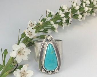 Turquoise Ring. Size 8.5 Sterling Silver.