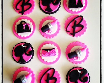 12 x barbie cupcake toppers -girl birthday party pink makeup