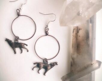 Antiqued Copper & Sterling Silver Wolf Moon Hoop earrings