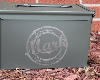 Personalized Groomsman Gift Ammo Box, Groomsmen Gift Box, Wedding Gift, Bridal Party Box