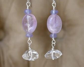 Herkimer Diamond Earrings, Pink Amethyst Earrings, Amethyst Earrings, Tanzanite Earrings, Purple Earrings, Gemstone Earrings, White Quartz