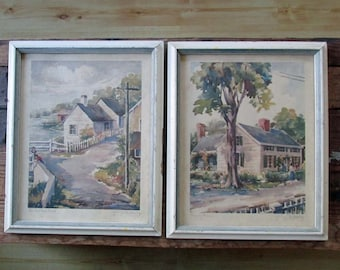 Vintage George M. Kirby Framed Signed Watercolor Prints Set of 2