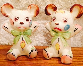 CLEARANCE SALE!   Anthropomorphic Patchwork Teddy Bears Salt and Pepper Shakers by Norcrest  from Japan circa 1950's