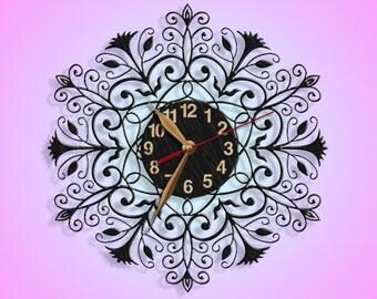 Ornament Wall Clock, Black Wall Art Decor, Wooden clock 12inch(30cm), Wood Clock, Modern, Home decor, Gift Idea