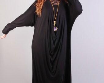 Loose dress, casual maxi long sleeve loose big size dress,black