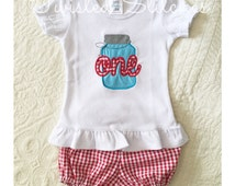 First birthday outfit, Picnic birthday, Red gingham bloomers and first birthday shirt set, Mason jar applique, Southern Birthday