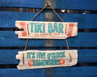 Tiki Bar sign It's Five O'Clock Somewhere sign Handmade recycled wood Outdoor bar signage