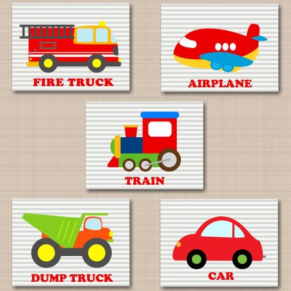 Nursery Wall Decor Transportation : Transportation wall art nursery by
