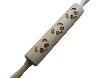 Rolling Pin: Engraved Pandas