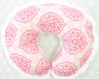 Delaney's Pink Damask   Pink & White Ruffled Nursing Pillow Cover